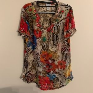 CHICO'S  100% Silk beaded sheer floral top Sz 0